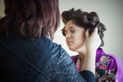 Starting make-up by Once Upon A Dream's Dana. #photographyshot #realism #imagery #naturallighting #photography #weddingmakeup #updo #robe #bride