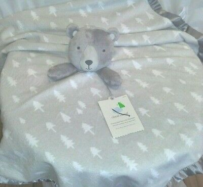Lovey Security Blanket Teddy Bear Oversized 30  Square Grey Cloud Island NEW #securityblankets