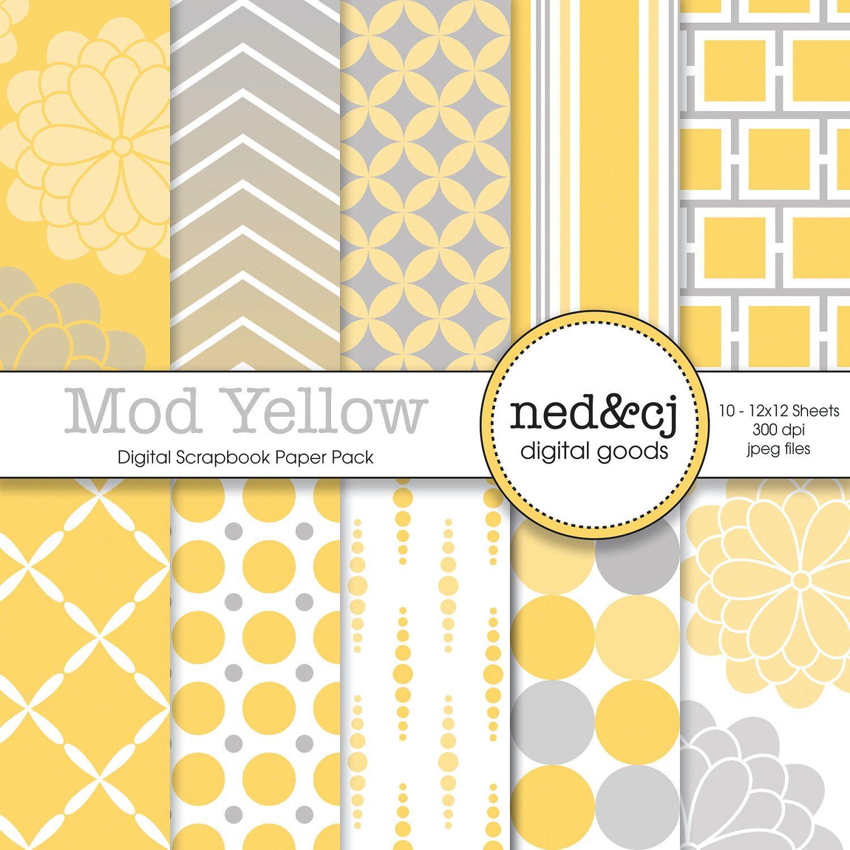 Scrapbook paper etsy - Buy 1 Get 1 Free Digital Scrapbook Paper Pack Mod Yellow Yellow