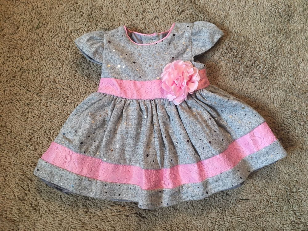 91861c53a21a Baby girl fall clothes 6-9 months Sweet Heart Rose pink   gray lace ...