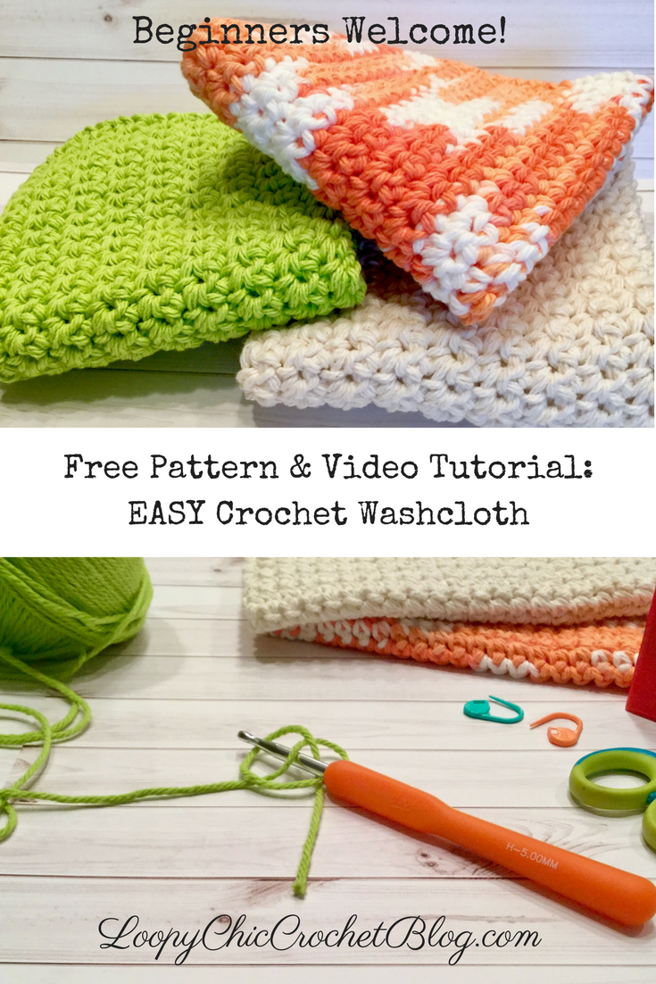 Crochet Washcloth: EASY Free pattern for Beginners | Manta