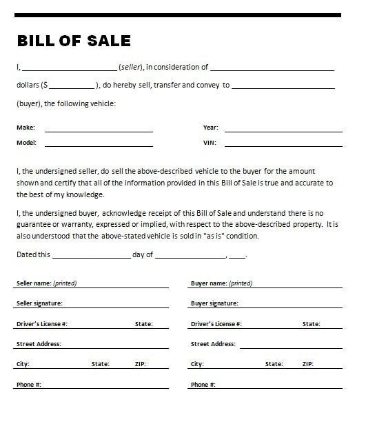 Bill Of Sale For Used Car template Pinterest Template, Cars