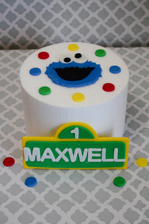 Sesame Streets Cookie Monster Birthday Smash Cake Fondant Topper