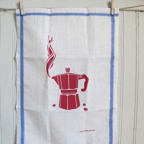 Canovaccio in lino con moka #cucina #kitchen