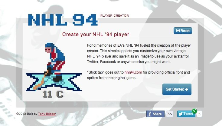 Remember Nhl 94 On Genesis Check The Nhl 94 Player Creator Nhl 94 Genesis Snes 16bit Createyourown Simple App The Creator Custom