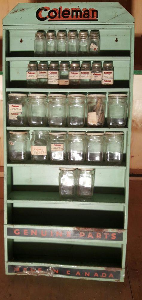 Vintage coleman dealer parts display rack w glass parts bottles vintage coleman dealer parts display rack w glass parts bottles spare mozeypictures Images