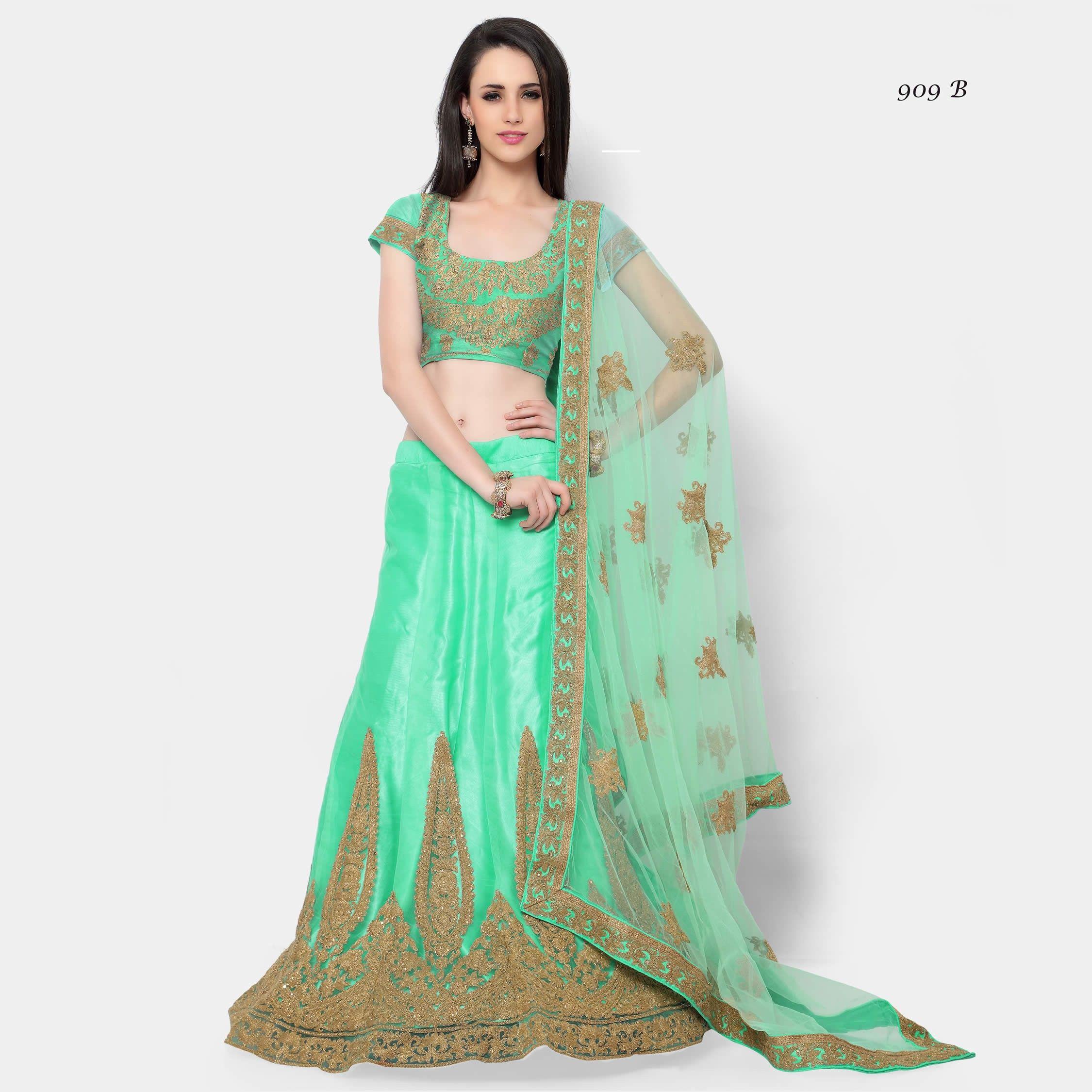 c59ee7b97b Buy Apparels- Sea Green Colour Net Designer Embroidery and Stone Work Lehenga  Choli