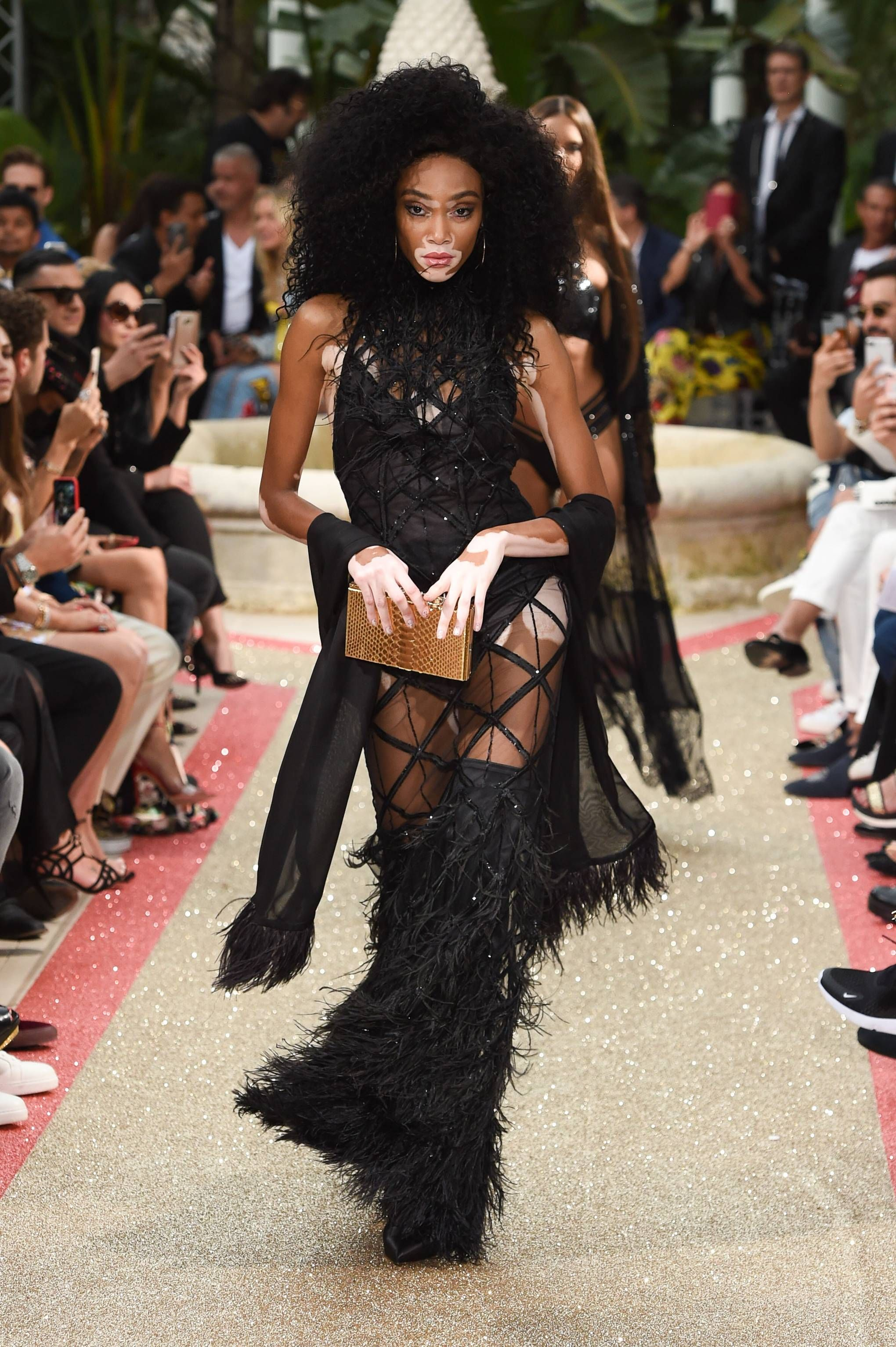 e7e23164888 Model Winnie Harlow on the runway at Philipp Plein Spring/Summer 2019  Resort Collection