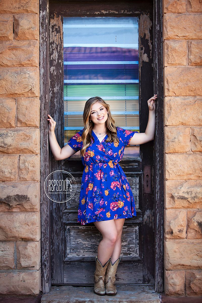 Senior in Blue Dress & Boots Photography senior pictures