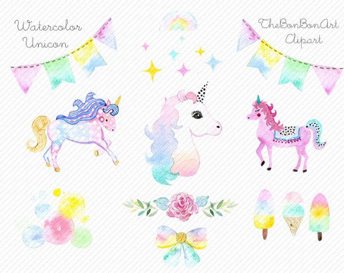 Watercolor Unicorn Clipart Unicorn Printable Golden Unicorns