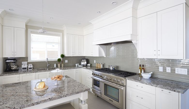 Best White Cabinets Grey Glass Backsplash And Med Grey Granite 640 x 480