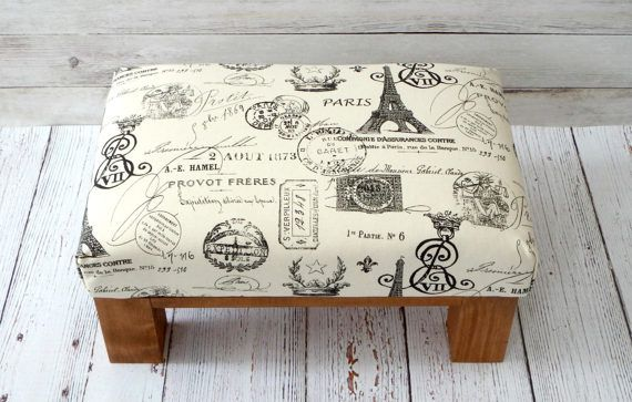 Small footstool - french country decor ottoman - upholstered ottoman ...