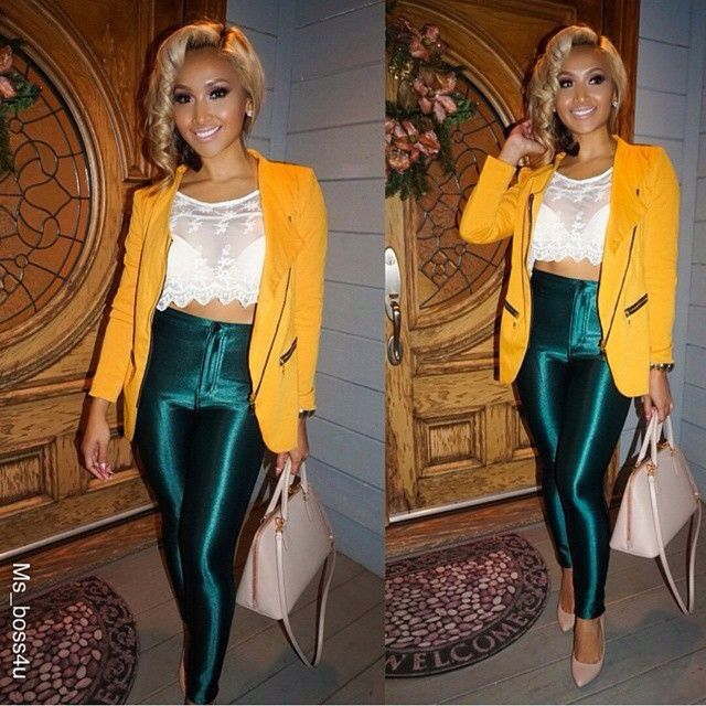 Emerald pants / yellow blazer