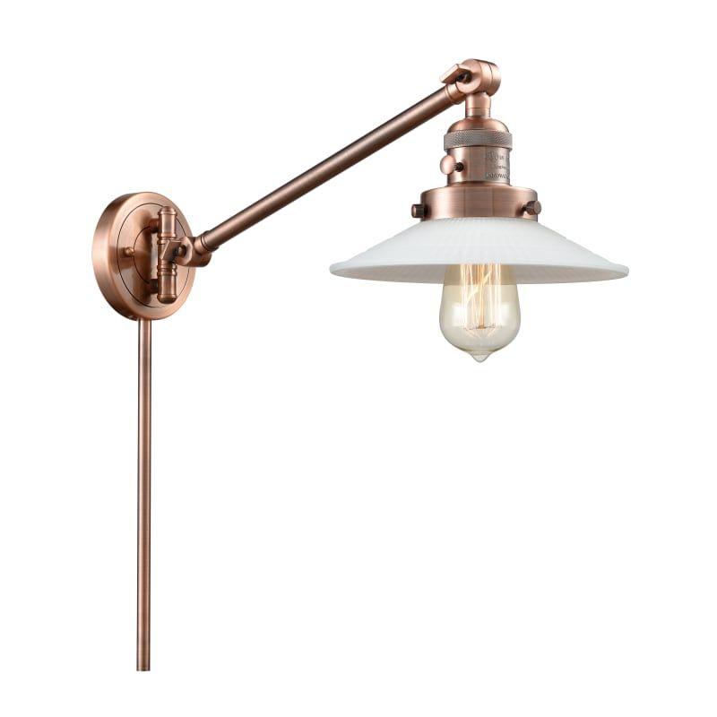 Photo of Innovations Lighting 237 Halophane Halophane Single Light 25″ Tall Bathroom Scon Antique Copper / Matte White Indoor Lighting Bathroom Fixtures