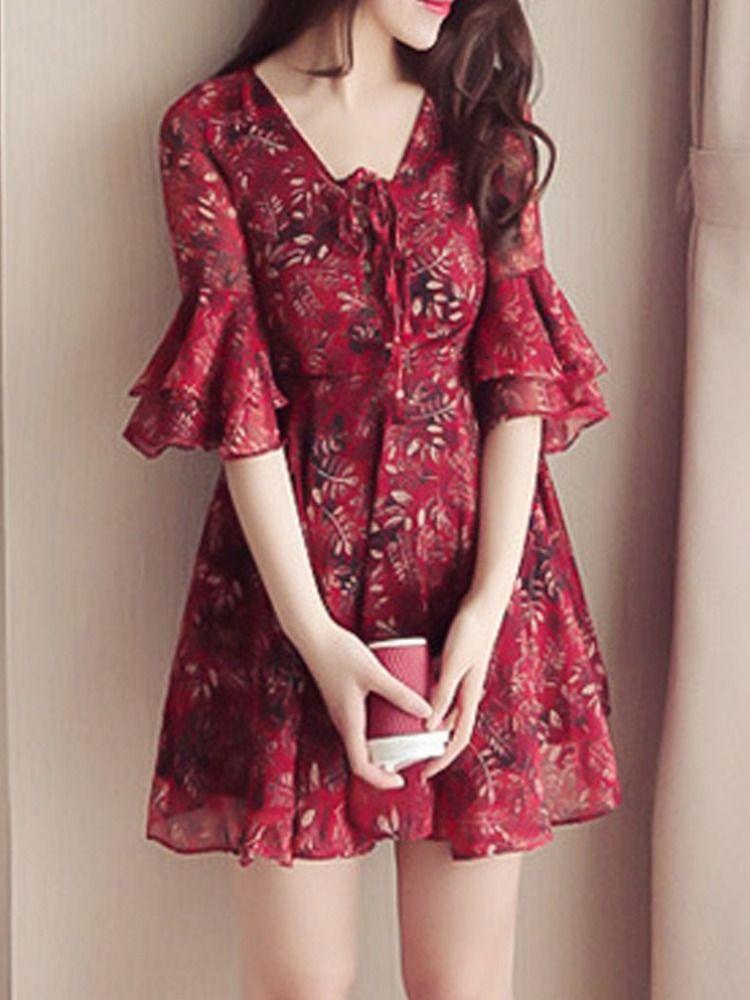 3b96f96b34994 Tie Collar Floral Printed Bell Sleeve Shift Dress #ShiftDresses ...