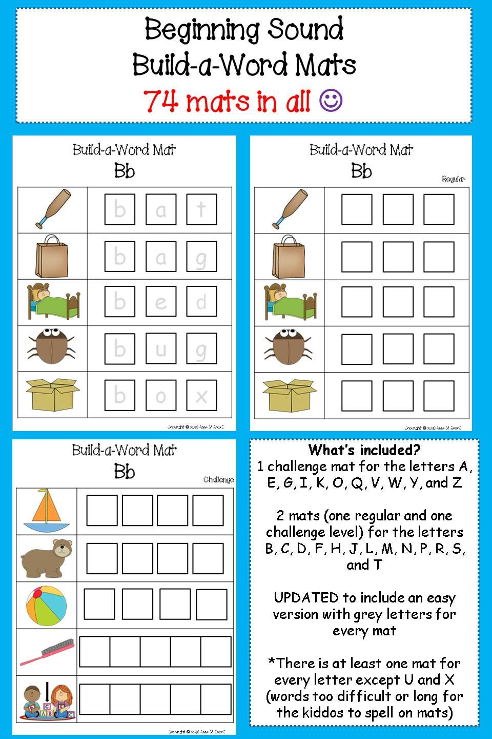 Beginning Sound Activity Letter Sounds BuildaWord Mats