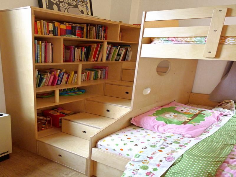 Easy To Make Bookshelves With Bunk Bed For Kids Stroovi