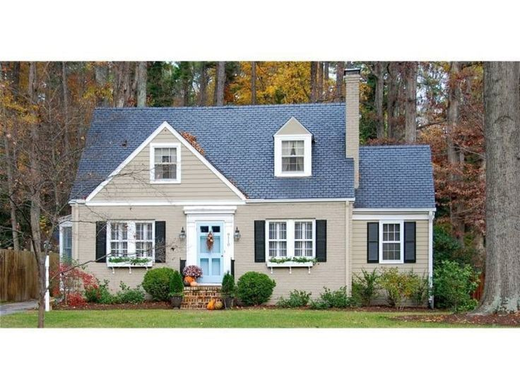 Tan Taupe House Black Shutters Blue Door Ranch House