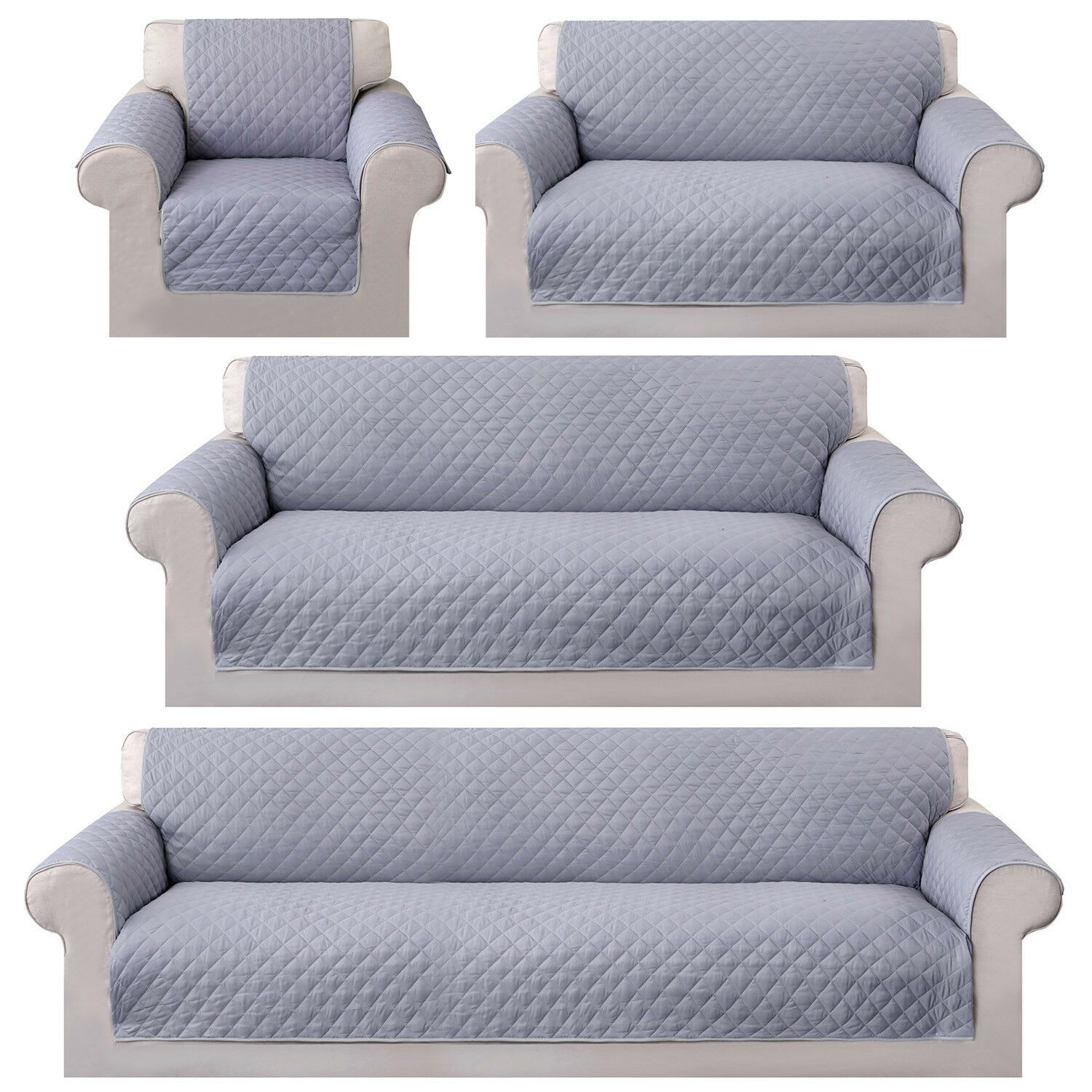 Gray Waterproof Pet Sofa Cover Reversible Chair Couch Slipcover