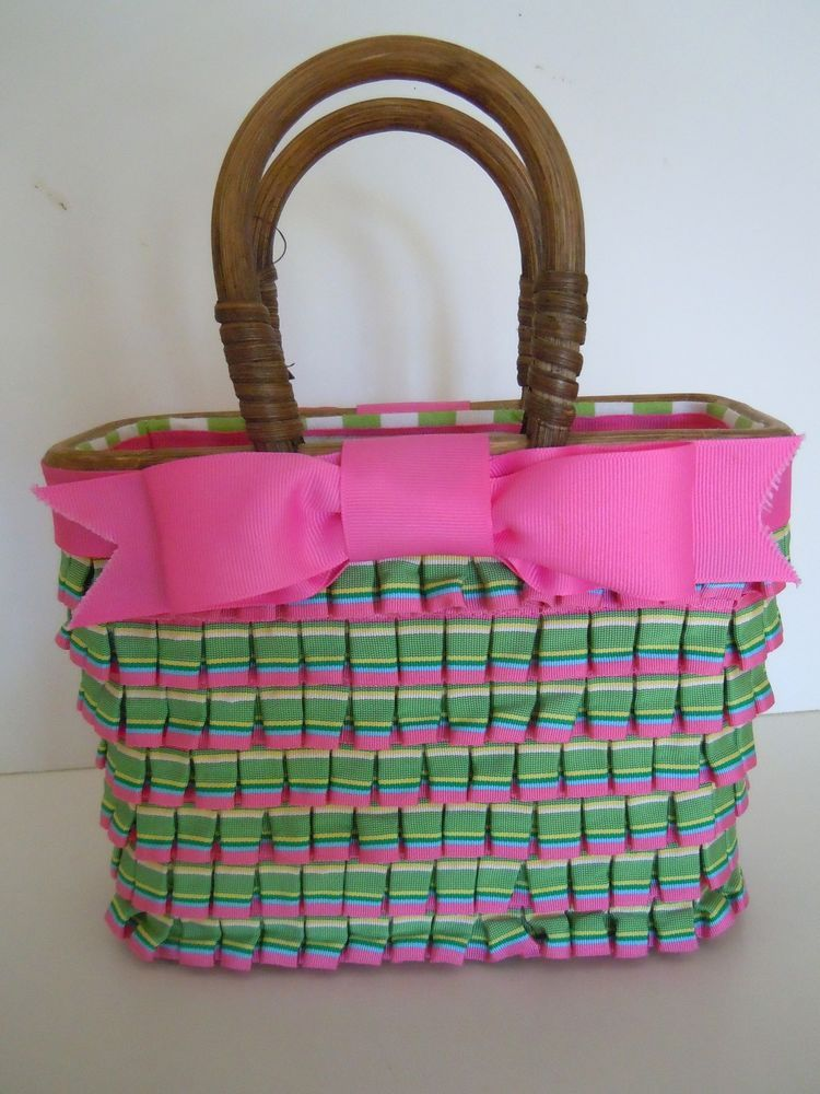 Gretchen Scott Ribbon Straw Basket Handbag Retails For 298 Pink Green Preppy 27 99