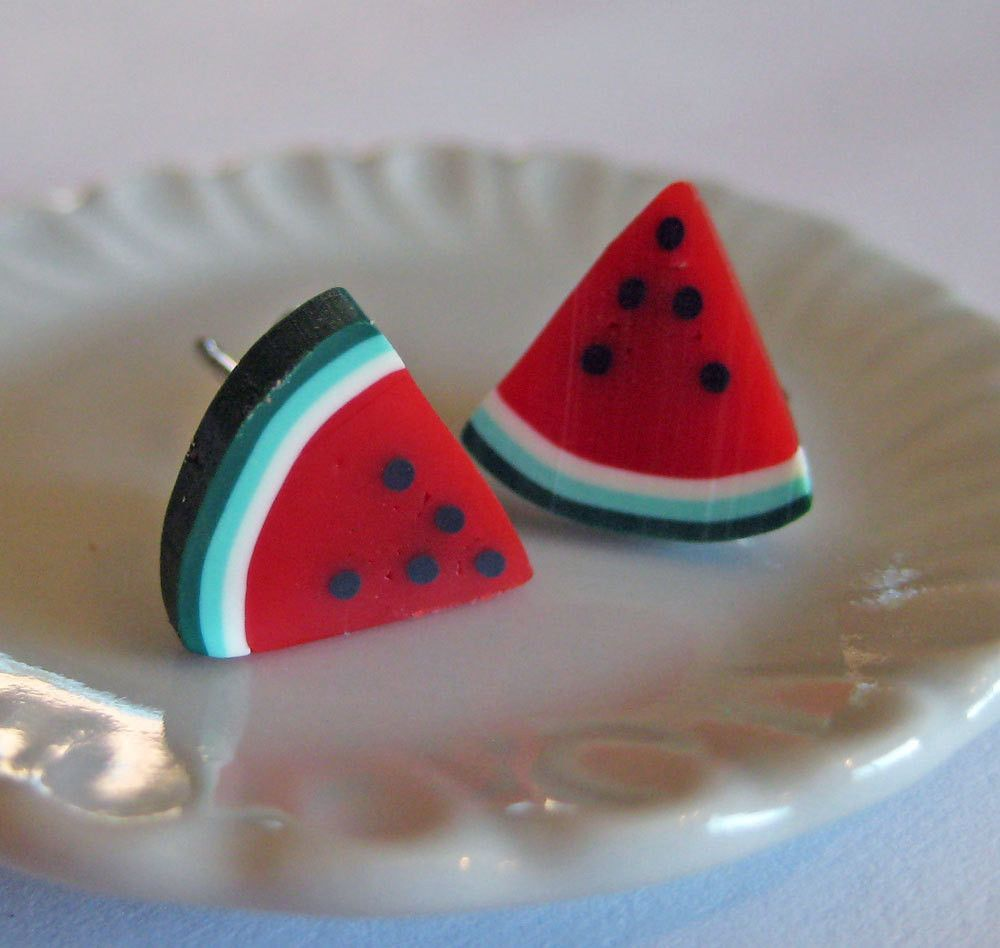 Watermelon Earrings - Food Jewelry