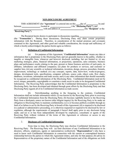 Non Disclosure Agreement Template 2 Non Disclosure Agreement Paper Template Free Templates Free Download