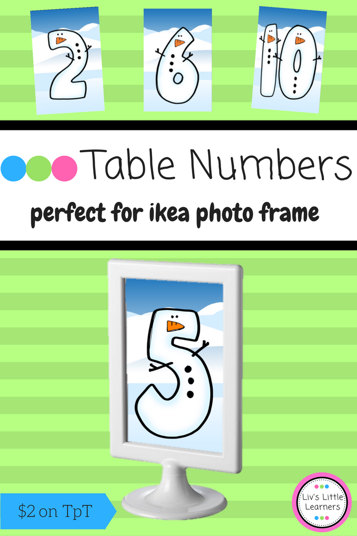 Ikea Frame Winter Table Numbers (snowman) | Math literacy, Classroom ...