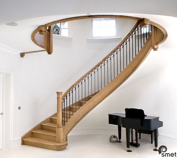 Best Solid French Oak Stairs With Hand Forged Spindles In 400 x 300