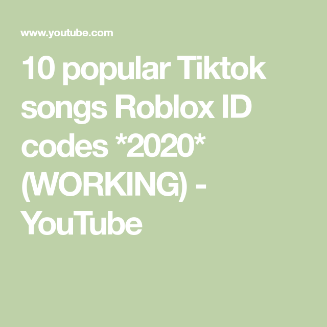 10 Popular Tiktok Songs Roblox Id Codes 2020 Working Youtube