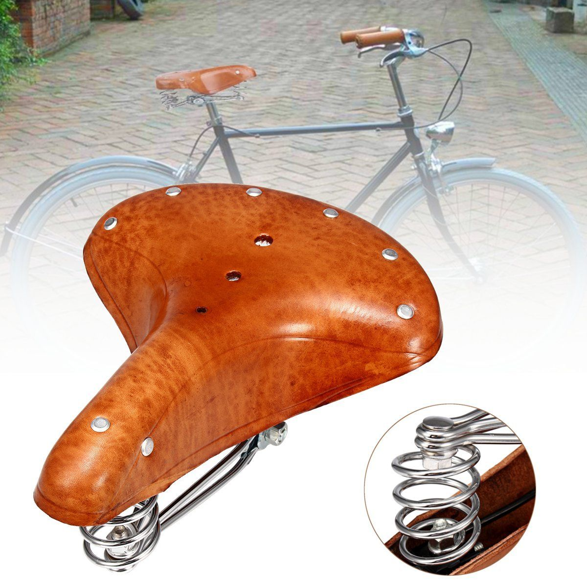 Bikight Genuine Leather Cycling Bicycle Saddle Seat Comfortable