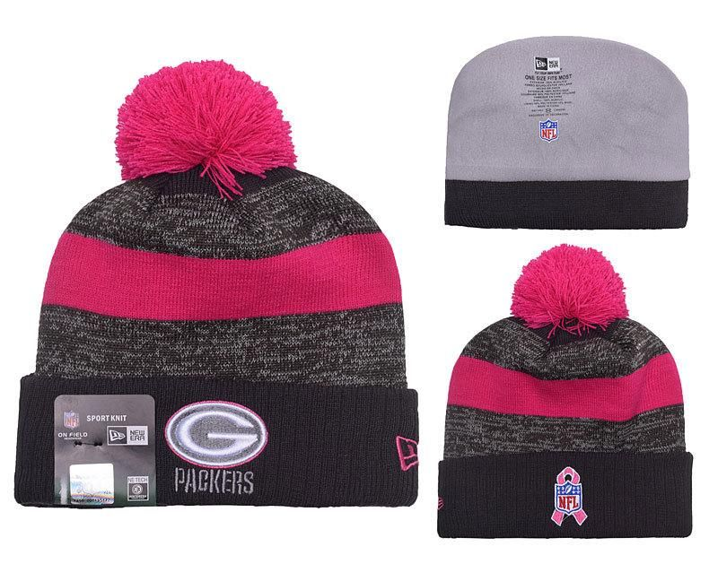Men s   Women s Green Bay Packers New Era Heather Gray 2016 Breast Cancer  Awareness Sideline Cuffed Pom Knit Beanie Hat 48299aa9ce1