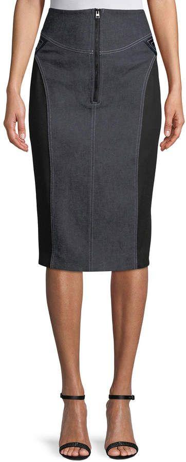 0711ae568 Diane von Furstenberg High-Waist Zip-Front Knee-Length Jean Skirt in ...