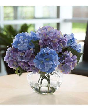 Hydrangea Silk Centerpiece Lavender Blue Blue Hydrangea Centerpieces Wedding Vase Centerpieces Hydrangea Centerpiece
