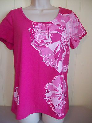 Womens Size L Fashion Bug Hot Pink Cotton Top Floral Painted Design Shirt