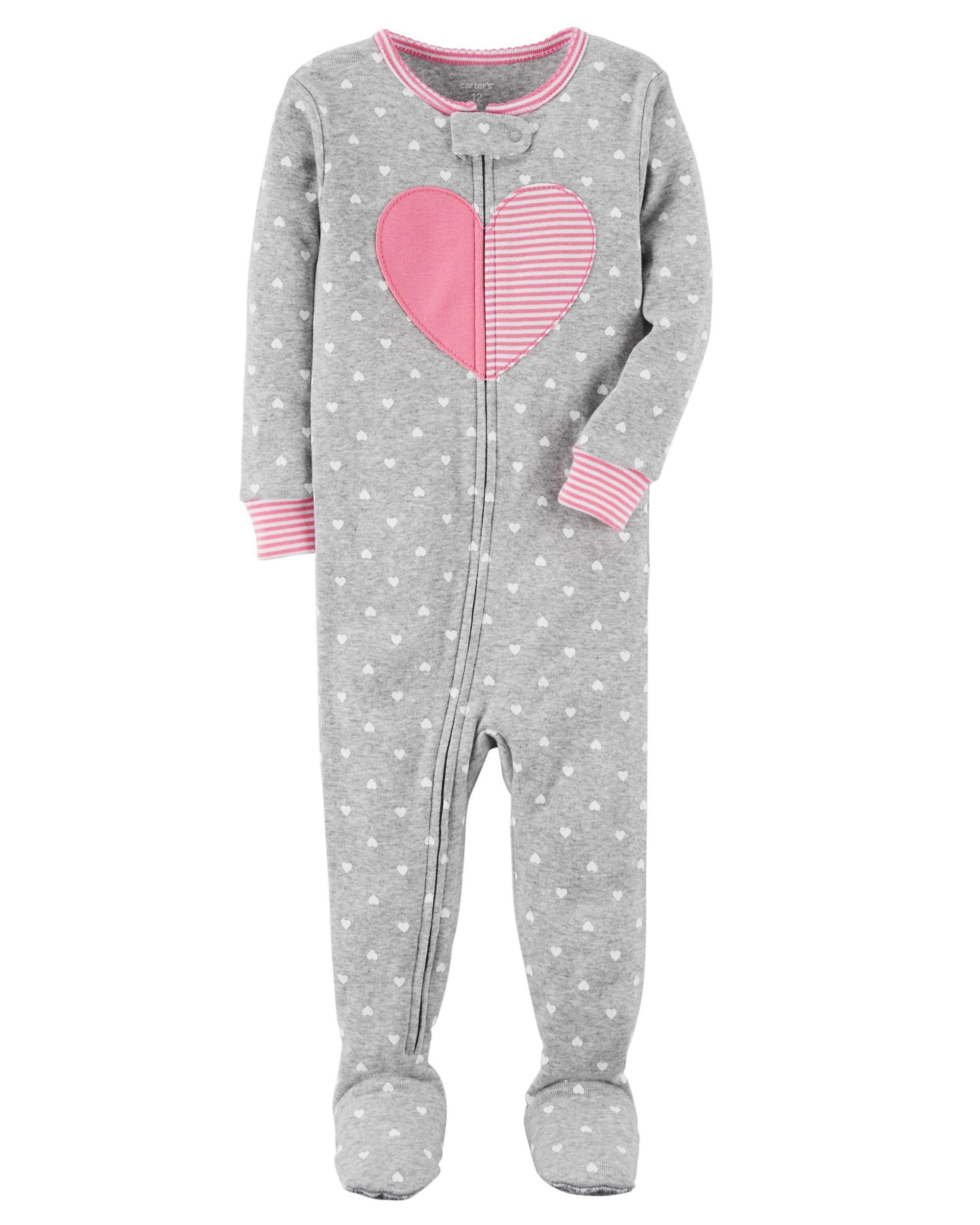 3577ce4fe 1-Piece Heart Snug Fit Cotton PJs