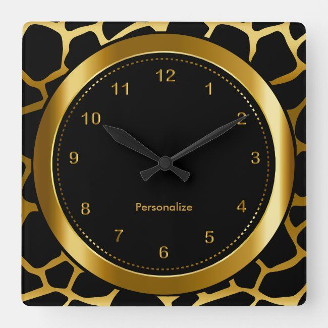 Dark Gold and Black Giraffe Pattern Print Square Wall Clock | Zazzle.com