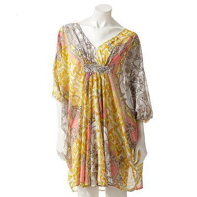 Women S Jennifer Lopez Scroll Chiffon Caftan Dress Fashion