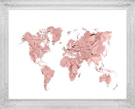 Rose gold map of the world gold rose world map nursery decor rose gold map of the world gold rose world map nursery decor gumiabroncs Images