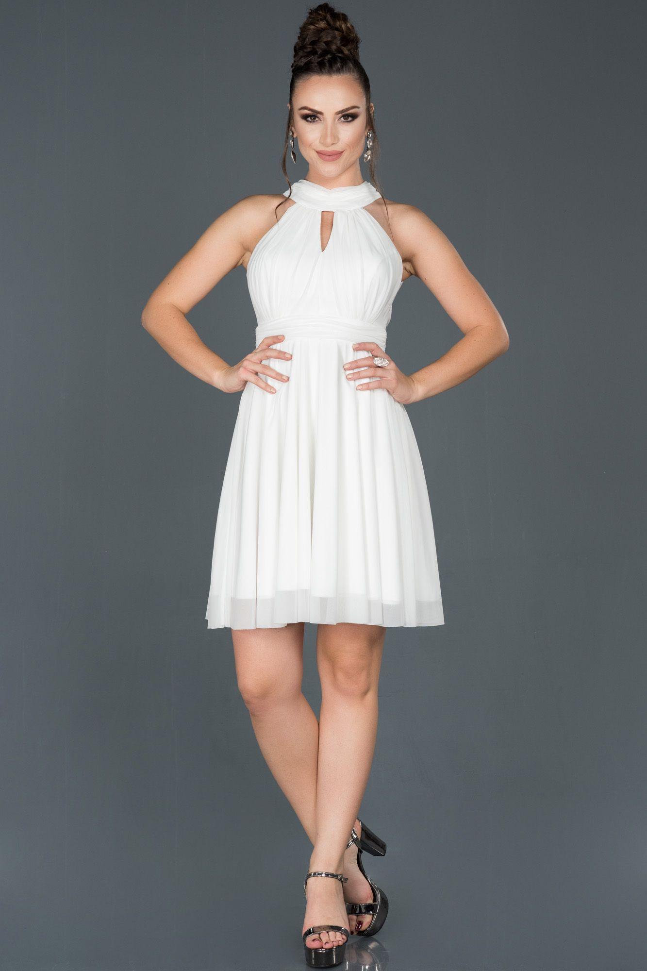 Ekru Kisa Boyundan Baglamali Abiye Elbise Abk224 2020 Elbise Modelleri Moda Stilleri Elbise