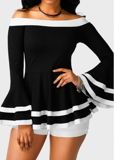 Black and White Boho Off the Shoulder Bell Sleeve Peplum Top