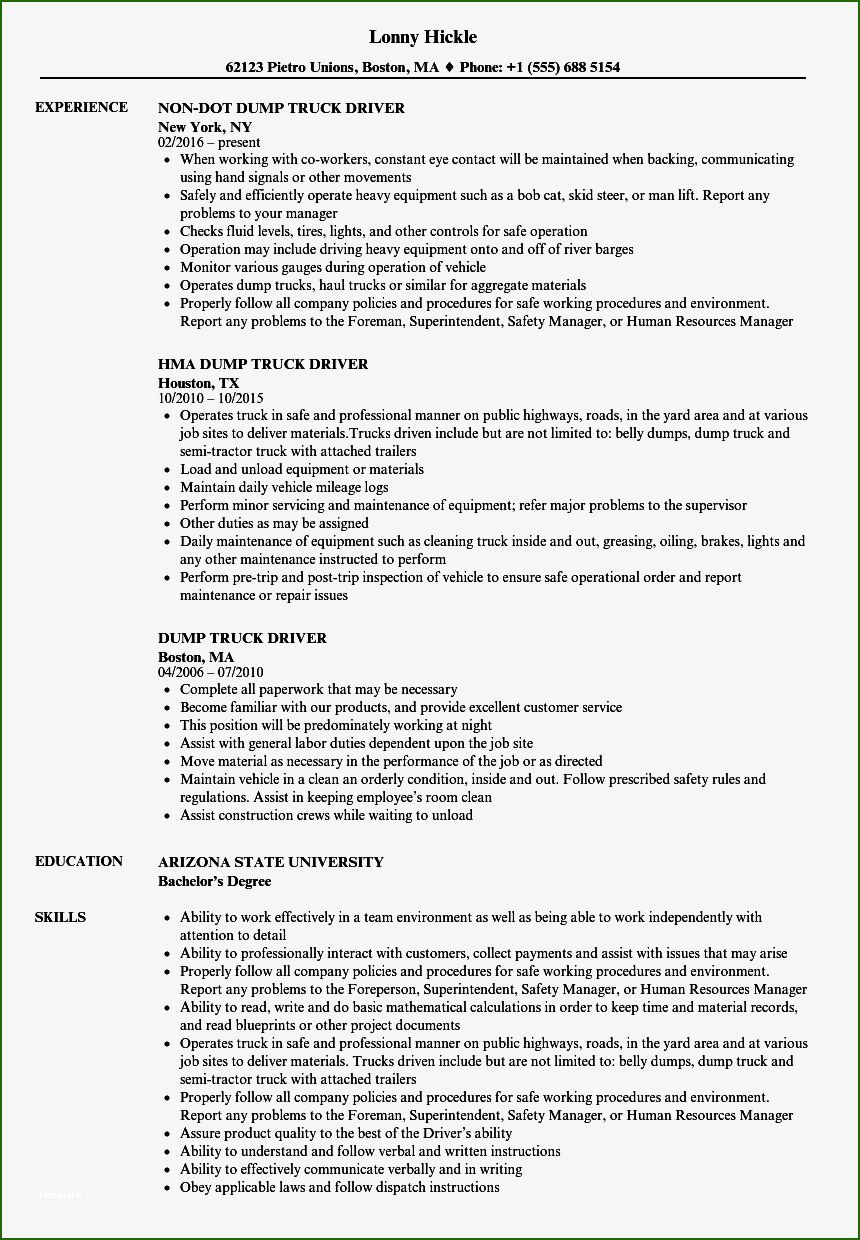 16 Impeccable Truck Driver Resume Template in 2020