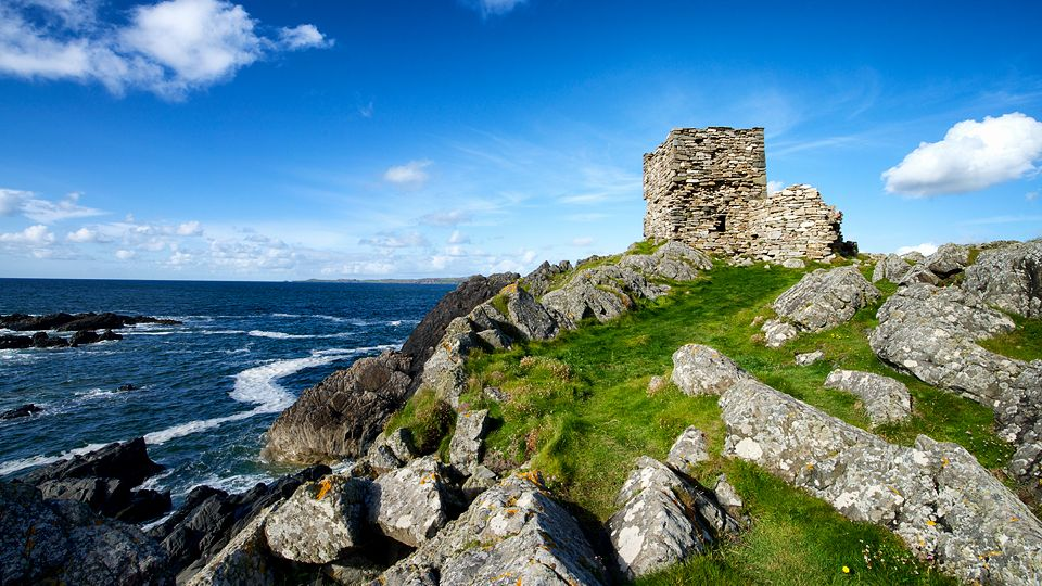 Carrickabraghy (Irish: Carraig Brachai) Castle stands on a rocky outcrop at the north-western extremity of The Isle of Doagh, at the head of Pollan Bay, in the parish of Clonmany, in the Barony (Ireland) of Inishowen, County Donegal, Republic of Ireland.