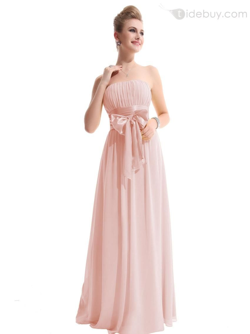 A-Line #Bridesmaid #Floor-length Hot Sell Ruched A-Line Strapless ...