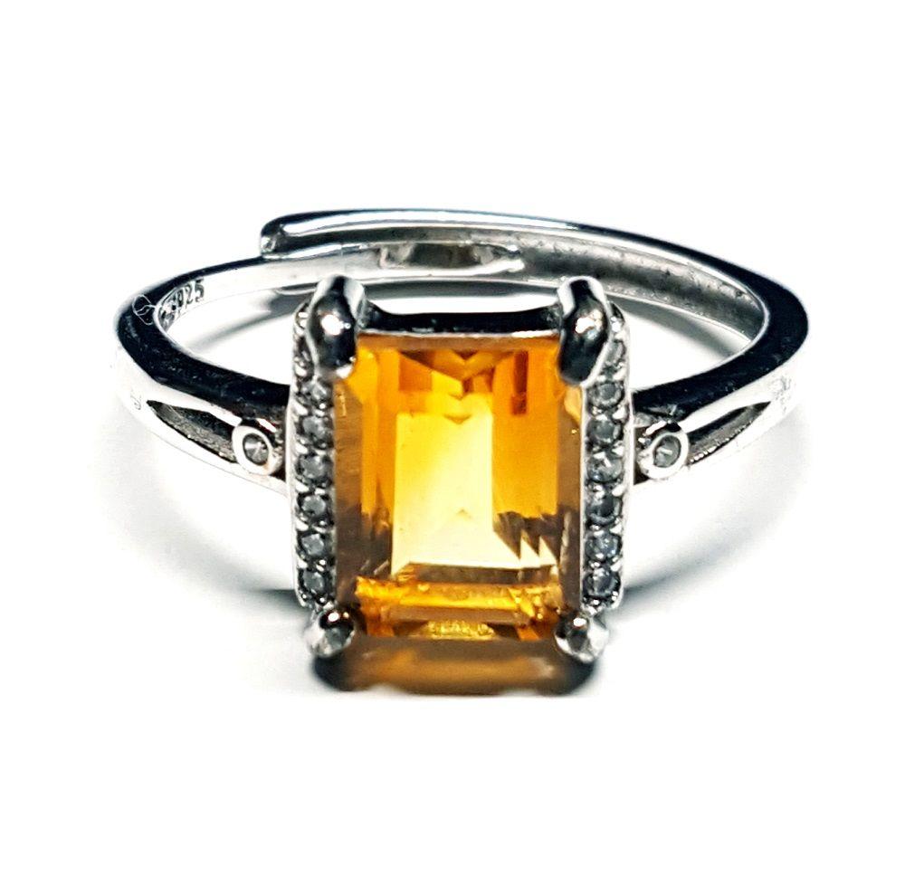Anello in argento 925 semplice con Ambra rettangolare