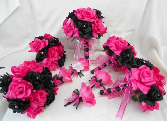 Wedding Bridal Bouquets Your Colors 18 Pcs Package Fuchsia Hot Pink