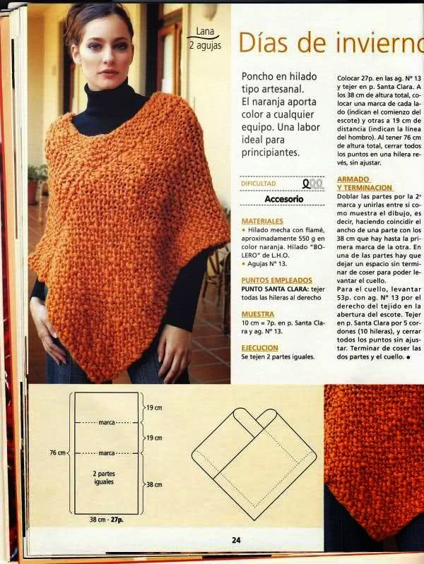4 patrones de ponchos tejidos con dos agujas | Crochet y Dos agujas                                                                                                                                                      Más