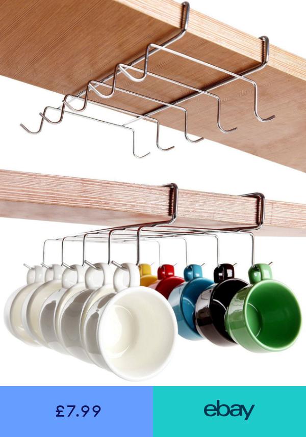 Cup Holder Hang Kitchen Cabinet Under Shelf Storage Rack Organiser 6 Hooks Hl69 Home Ga Functional Kitchen Storage Kitchen Storage Rack Under Shelf Storage