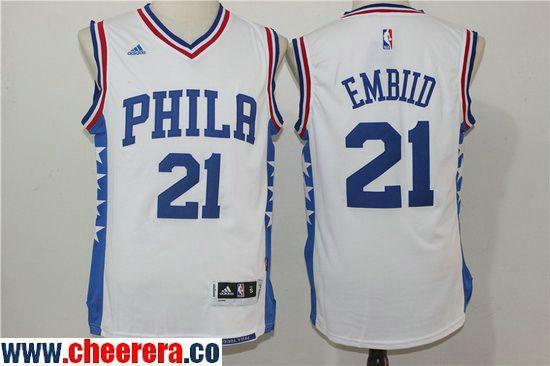 32bdc744b Men s Philadelphia 76ers  21 Joel Embiid NEW White Stitched NBA Adidas  Revolution 30 Swingman Jersey