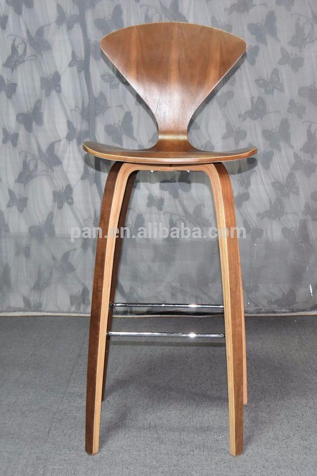 norman cherner stylish walnut veneer plywood counter dwr stool