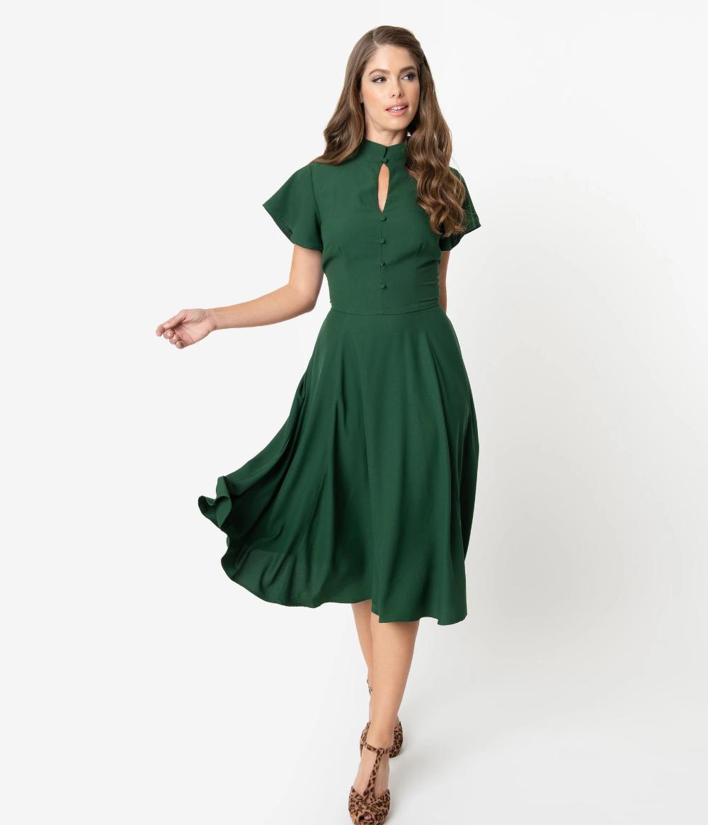 Unique Vintage 1950s Dark Green Baltimore Swing Dress Swing Dress Unique Dresses Vintage Inspired Outfits [ 1164 x 1000 Pixel ]